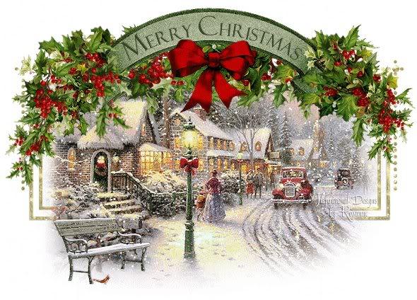 Bonito paisaje de Navidad con Frases